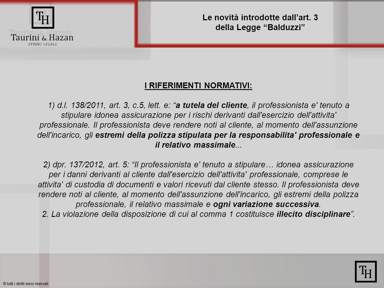Le novità introdotte dallart.3 della Legge Balduzzi I RIFERIMENTI NORMATIVI: 1) d.l.