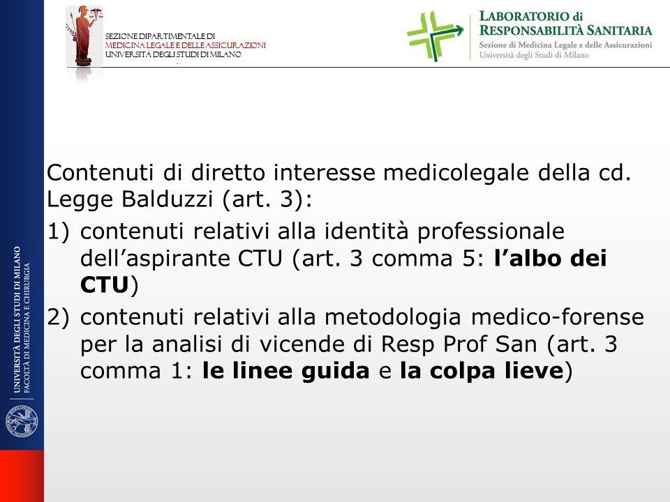 Contenuti di diretto interesse medicolegale della cd. Legge Balduzzi (art. 3): 1)contenuti relativi alla identità professionale dellaspirante CTU (art
