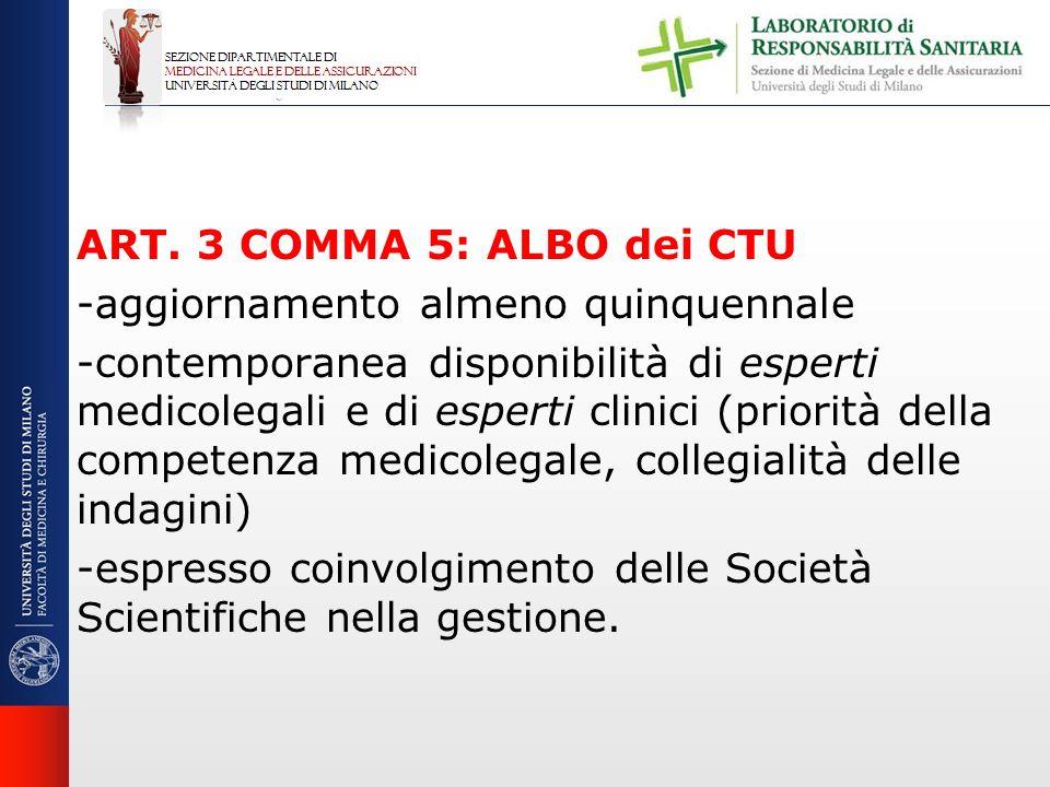 ART. 3 COMMA 5: ALBO dei CTU -aggiornamento almeno quinquennale -contemporanea disponibilità di esperti medicolegali e di esperti clinici (priorità de