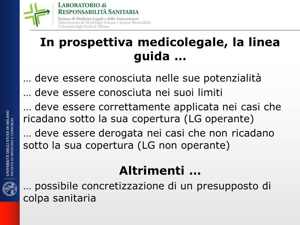 In prospettiva medicolegale, la linea guida … … deve essere conosciuta nelle sue potenzialità … deve essere conosciuta nei suoi limiti … deve essere c