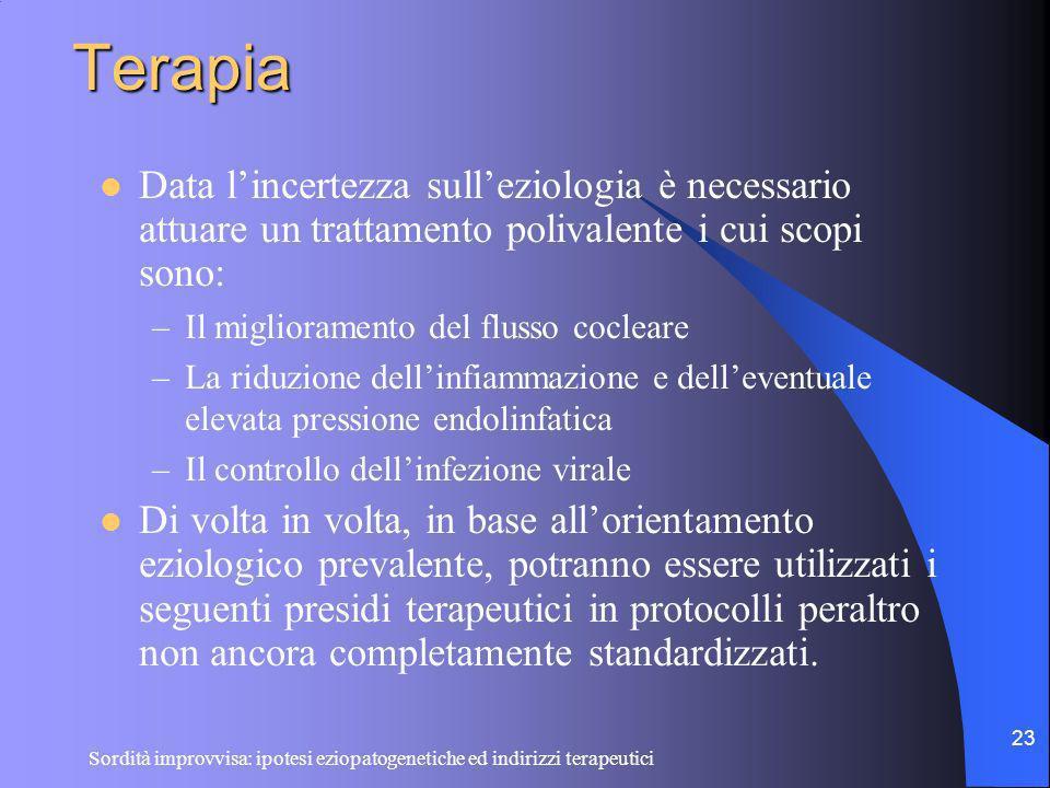 Sordità improvvisa: ipotesi eziopatogenetiche ed indirizzi terapeutici 23 Terapia Data lincertezza sulleziologia è necessario attuare un trattamento p