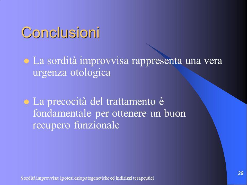Sordità improvvisa: ipotesi eziopatogenetiche ed indirizzi terapeutici 29 Conclusioni La sordità improvvisa rappresenta una vera urgenza otologica La