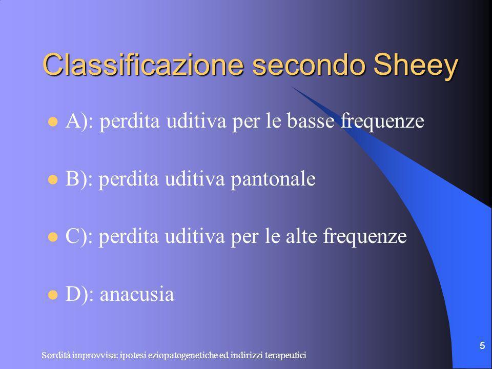 Sordità improvvisa: ipotesi eziopatogenetiche ed indirizzi terapeutici 5 Classificazione secondo Sheey A): perdita uditiva per le basse frequenze B):