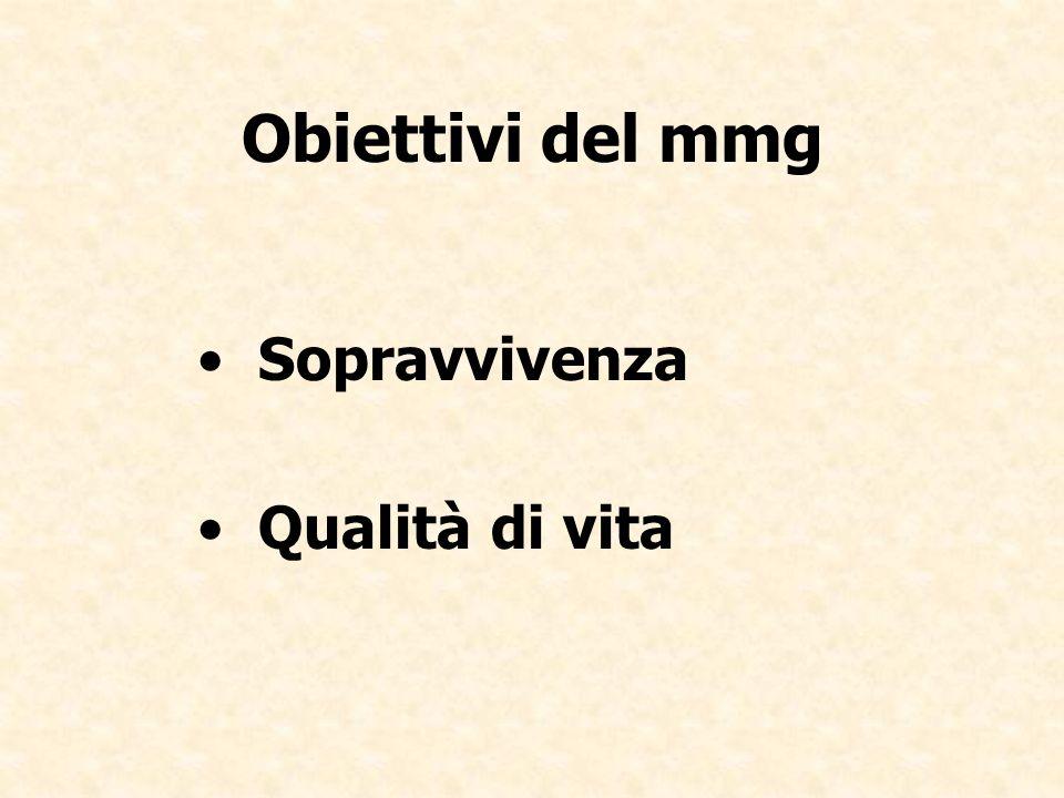 Obiettivi del mmg Sopravvivenza Qualità di vita
