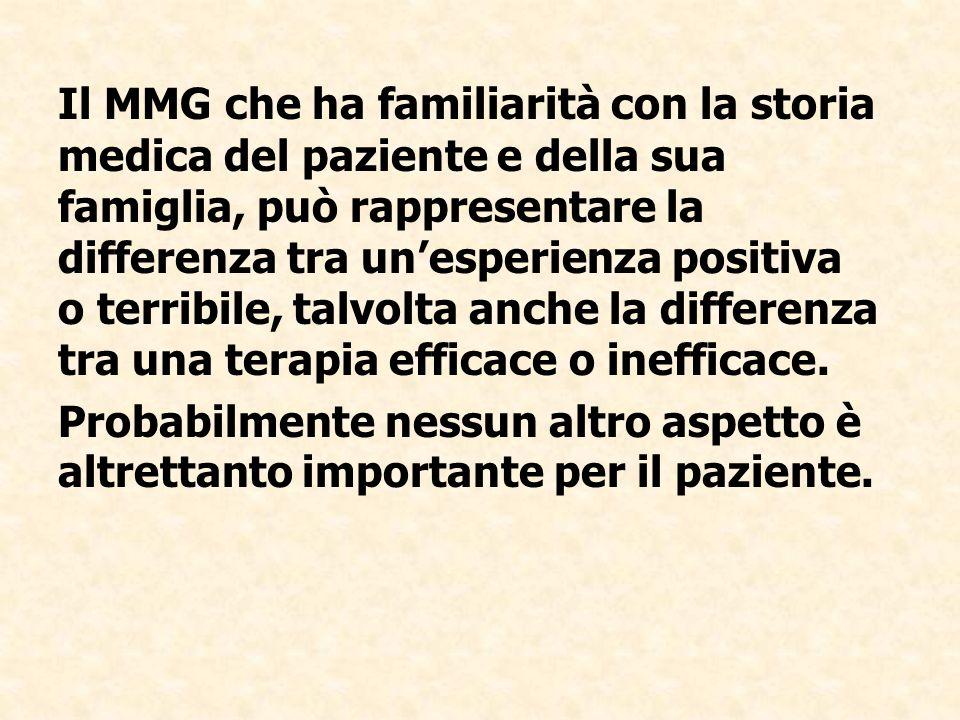 Il MMG che ha familiarità con la storia medica del paziente e della sua famiglia, può rappresentare la differenza tra unesperienza positiva o terribil