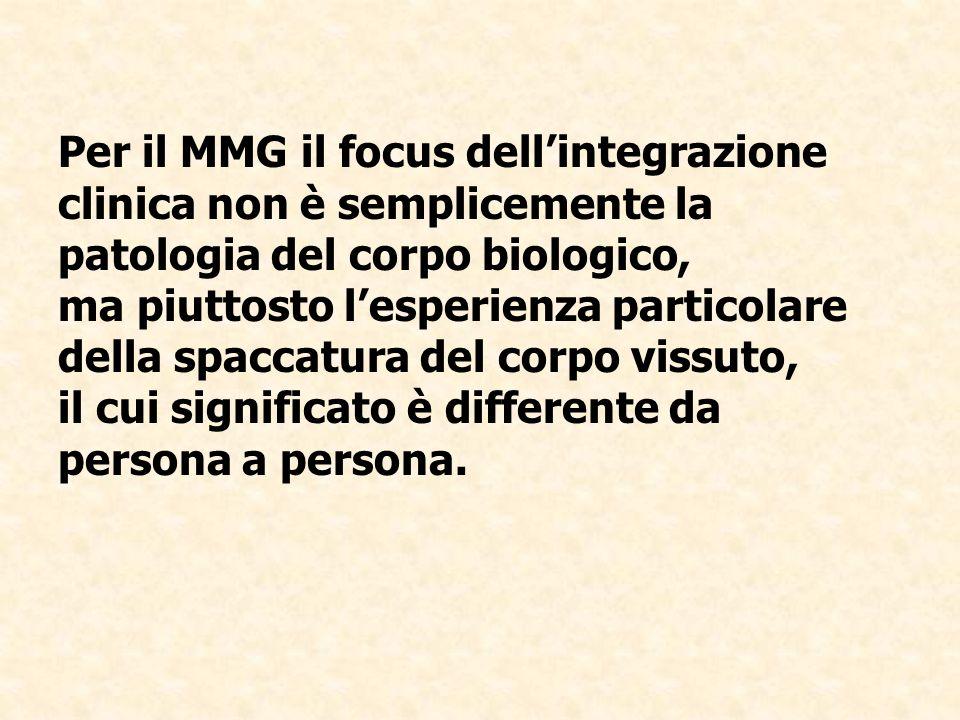 Per il MMG il focus dellintegrazione clinica non è semplicemente la patologia del corpo biologico, ma piuttosto lesperienza particolare della spaccatu