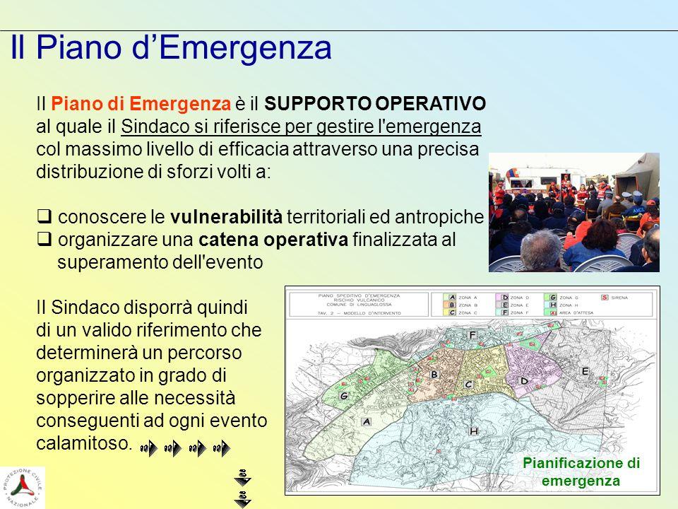 Il Piano di Emergenza è il SUPPORTO OPERATIVO al quale il Sindaco si riferisce per gestire l'emergenza col massimo livello di efficacia attraverso una