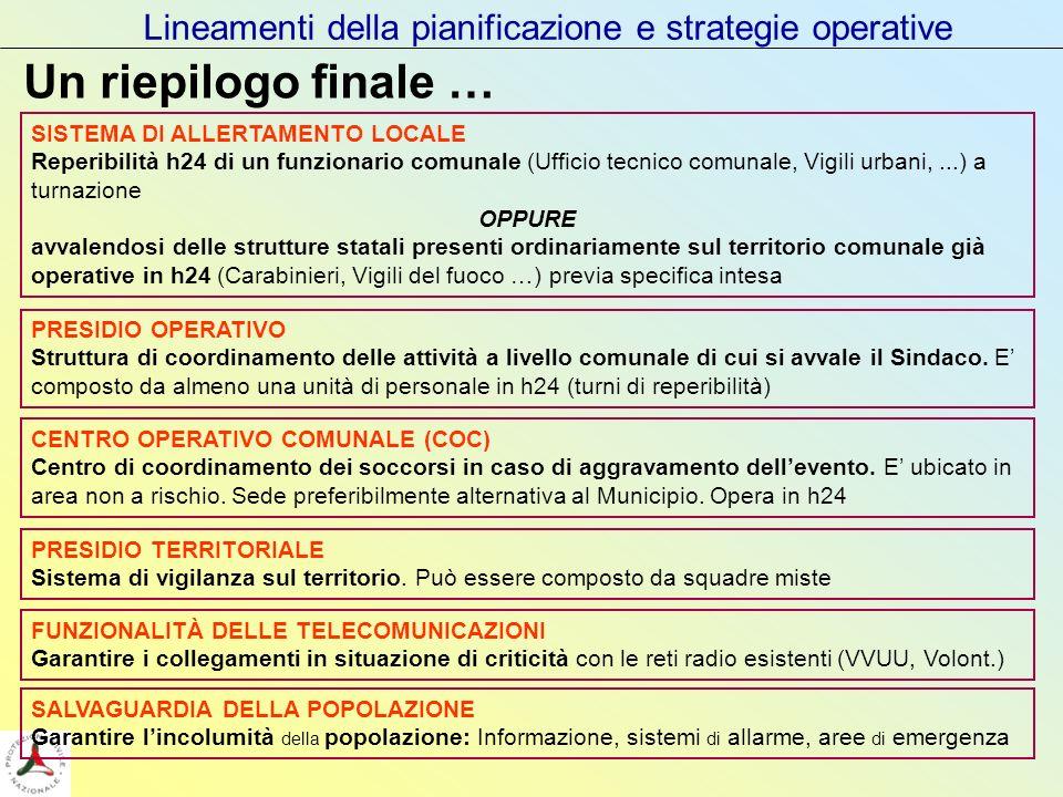 Lineamenti della pianificazione e strategie operative Un riepilogo finale … SISTEMA DI ALLERTAMENTO LOCALE Reperibilità h24 di un funzionario comunale