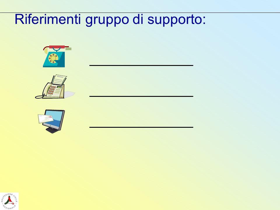 Riferimenti gruppo di supporto: