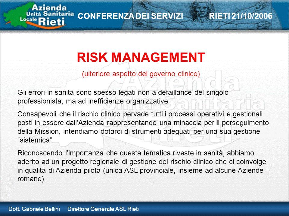 Dott. Gabriele Bellini Direttore Generale ASL Rieti CONFERENZA DEI SERVIZI RIETI 21/10/2006 RISK MANAGEMENT (ulteriore aspetto del governo clinico) Gl