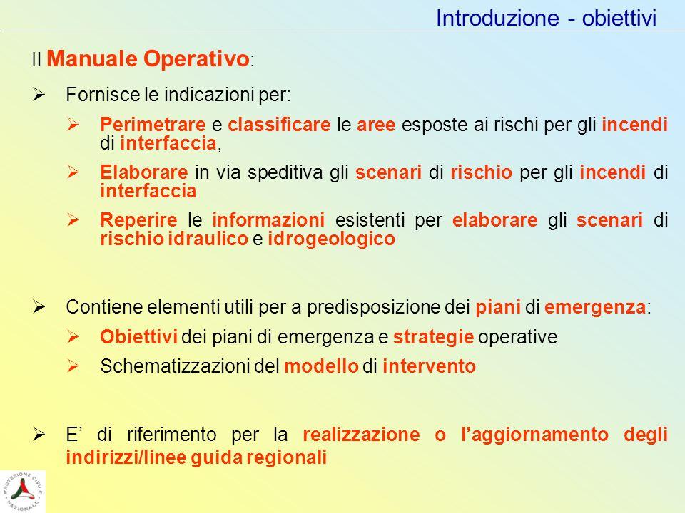 Introduzione - obiettivi Il Manuale Operativo : Fornisce le indicazioni per: Perimetrare e classificare le aree esposte ai rischi per gli incendi di i