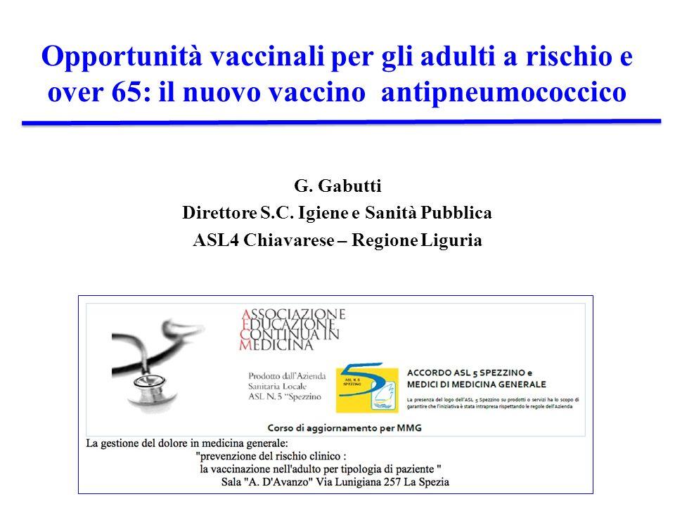 Opportunità vaccinali per gli adulti a rischio e over 65: il nuovo vaccino antipneumococcico G. Gabutti Direttore S.C. Igiene e Sanità Pubblica ASL4 C
