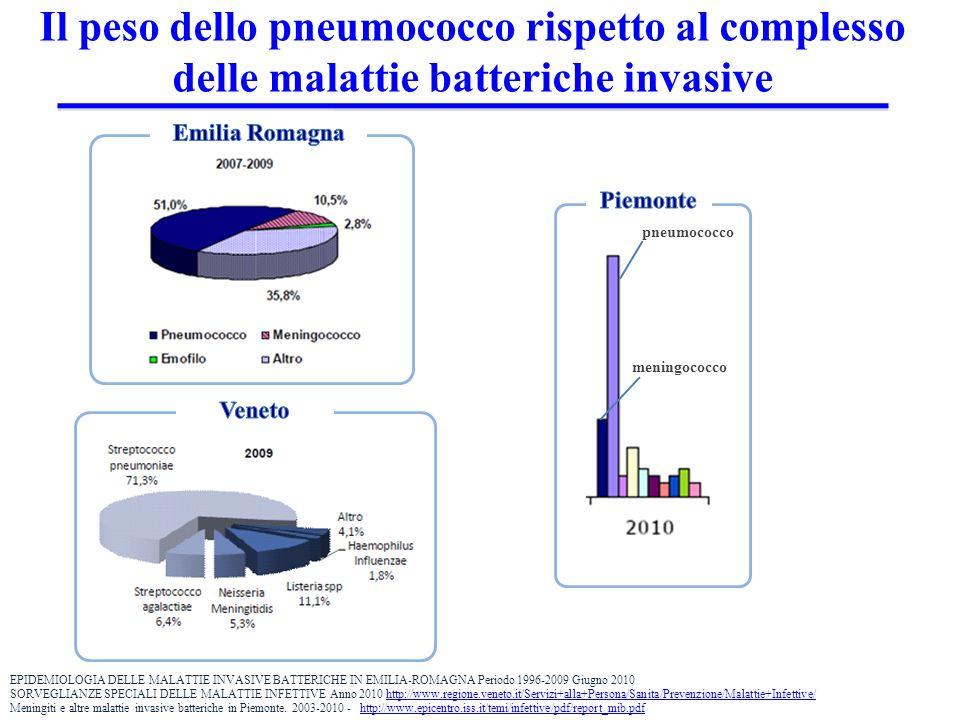 Il peso dello pneumococco rispetto al complesso delle malattie batteriche invasive pneumococco meningococco EPIDEMIOLOGIA DELLE MALATTIE INVASIVE BATTERICHE IN EMILIA-ROMAGNA Periodo 1996-2009 Giugno 2010 SORVEGLIANZE SPECIALI DELLE MALATTIE INFETTIVE Anno 2010 http://www.regione.veneto.it/Servizi+alla+Persona/Sanita/Prevenzione/Malattie+Infettive/http://www.regione.veneto.it/Servizi+alla+Persona/Sanita/Prevenzione/Malattie+Infettive/ Meningiti e altre malattie invasive batteriche in Piemonte.