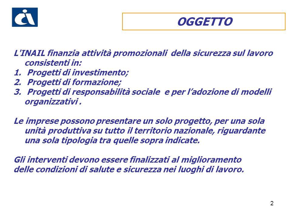 2 OGGETTO L INAIL finanzia attività promozionali della sicurezza sul lavoro consistenti in: 1.