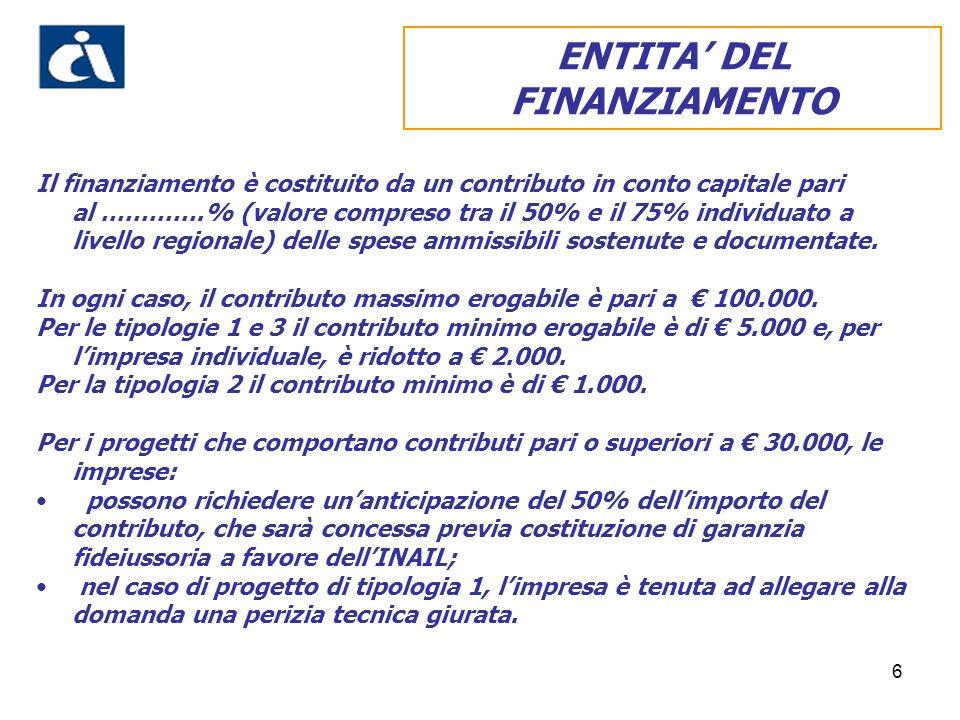 6 Il finanziamento è costituito da un contributo in conto capitale pari al ………….% (valore compreso tra il 50% e il 75% individuato a livello regionale) delle spese ammissibili sostenute e documentate.
