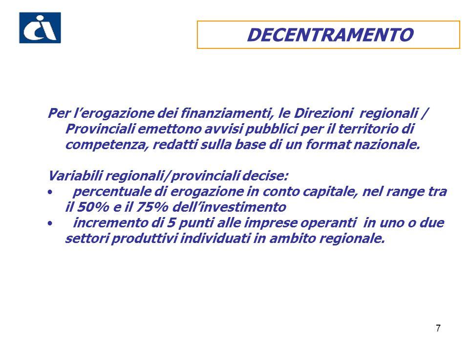 7 DECENTRAMENTO Per lerogazione dei finanziamenti, le Direzioni regionali / Provinciali emettono avvisi pubblici per il territorio di competenza, redatti sulla base di un format nazionale.