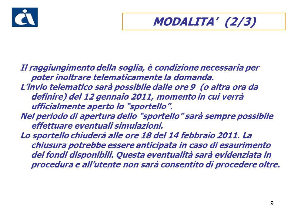 10 MODALITA (3/3) Linvio telematico determina lattribuzione da parte del sistema informatico del numero progressivo di domanda in ordine cronologico, il rilascio della ricevuta e la prenotazione della somma richiesta.
