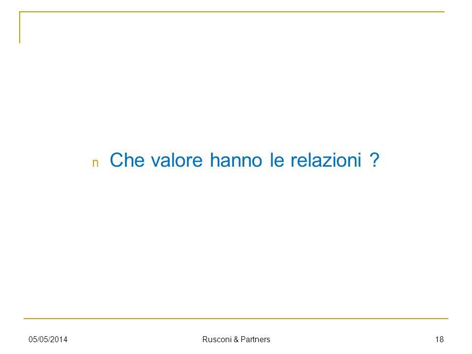 Che valore hanno le relazioni ? 1805/05/2014 Rusconi & Partners