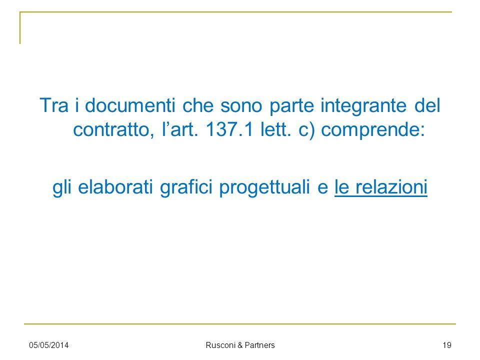 Tra i documenti che sono parte integrante del contratto, lart. 137.1 lett. c) comprende: gli elaborati grafici progettuali e le relazioni 1905/05/2014