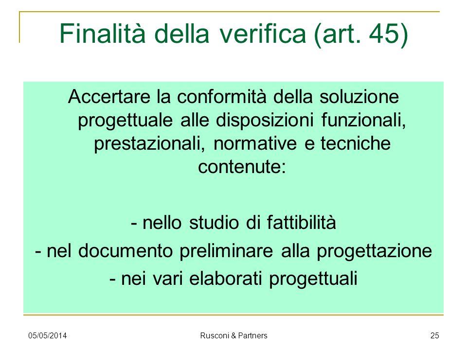 Finalità della verifica (art. 45) Accertare la conformità della soluzione progettuale alle disposizioni funzionali, prestazionali, normative e tecnich