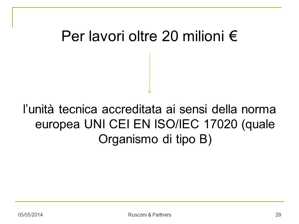 Per lavori oltre 20 milioni lunità tecnica accreditata ai sensi della norma europea UNI CEI EN ISO/IEC 17020 (quale Organismo di tipo B) 05/05/2014 Ru