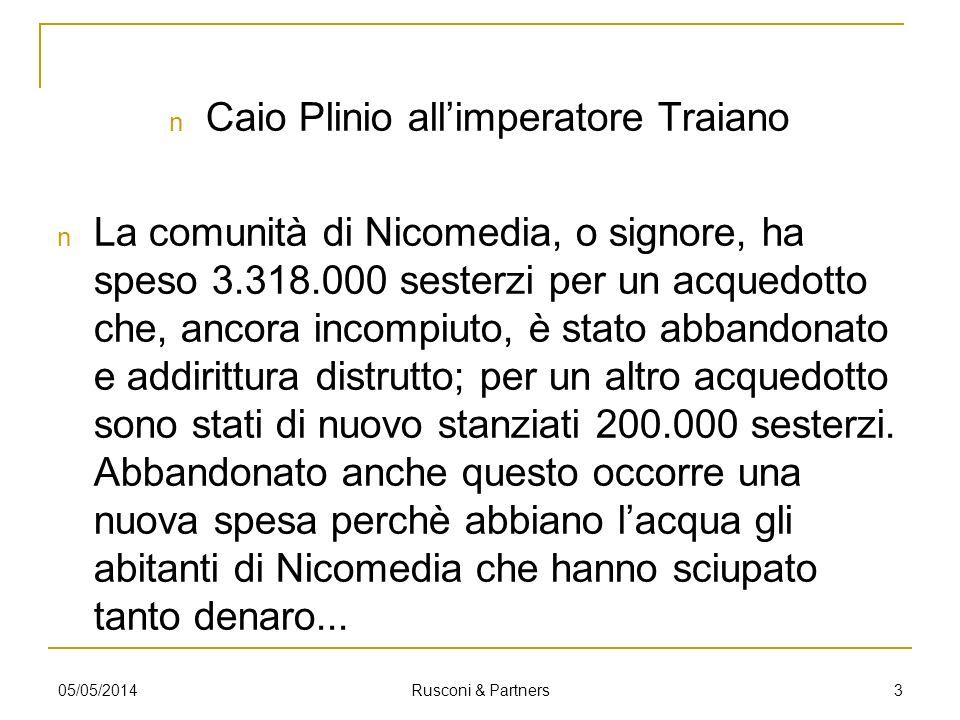 Traiano a Plinio Bisogna darsi da fare perchè lacqua arrivi alla città di Nicomedia.