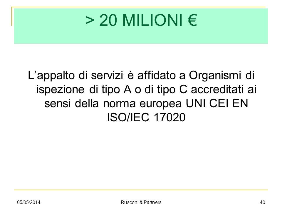 > 20 MILIONI Lappalto di servizi è affidato a Organismi di ispezione di tipo A o di tipo C accreditati ai sensi della norma europea UNI CEI EN ISO/IEC