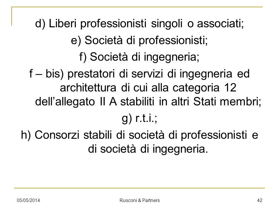 d) Liberi professionisti singoli o associati; e) Società di professionisti; f) Società di ingegneria; f – bis) prestatori di servizi di ingegneria ed