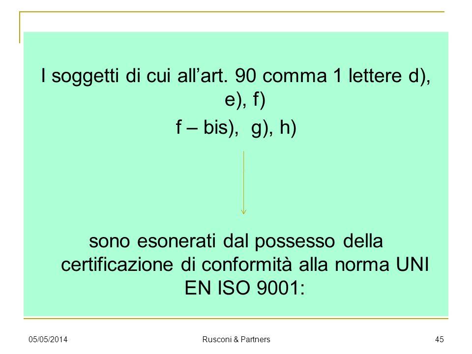 I soggetti di cui allart. 90 comma 1 lettere d), e), f) f – bis), g), h) sono esonerati dal possesso della certificazione di conformità alla norma UNI