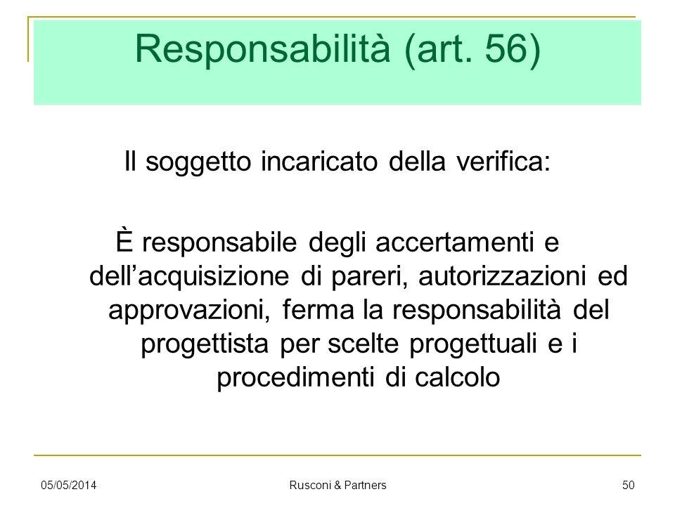 Responsabilità (art. 56) Il soggetto incaricato della verifica: È responsabile degli accertamenti e dellacquisizione di pareri, autorizzazioni ed appr
