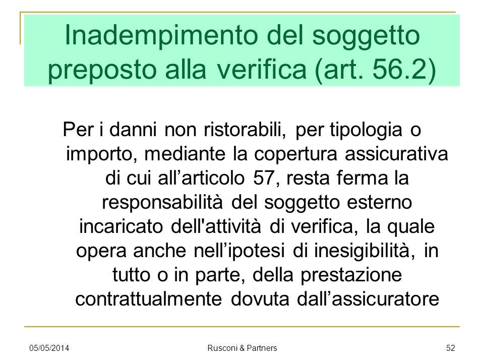 Inadempimento del soggetto preposto alla verifica (art. 56.2) Per i danni non ristorabili, per tipologia o importo, mediante la copertura assicurativa
