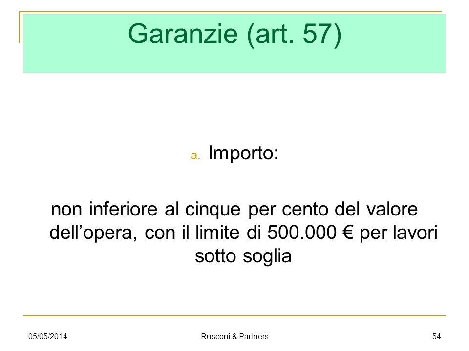 Garanzie (art. 57) a. Importo: non inferiore al cinque per cento del valore dellopera, con il limite di 500.000 per lavori sotto soglia 05/05/2014 Rus