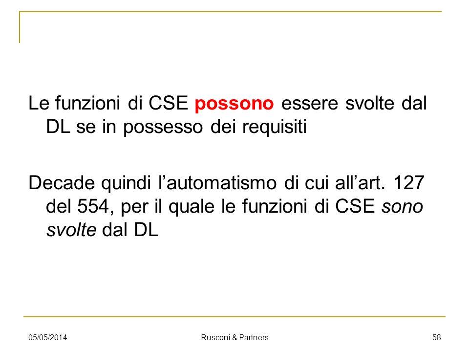 Le funzioni di CSE possono essere svolte dal DL se in possesso dei requisiti Decade quindi lautomatismo di cui allart. 127 del 554, per il quale le fu