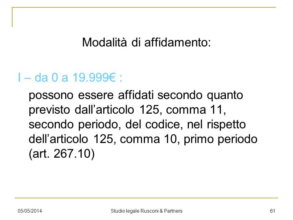 Modalità di affidamento: I – da 0 a 19.999 : possono essere affidati secondo quanto previsto dallarticolo 125, comma 11, secondo periodo, del codice,