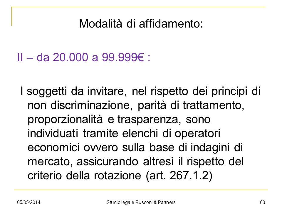 Modalità di affidamento: II – da 20.000 a 99.999 : I soggetti da invitare, nel rispetto dei principi di non discriminazione, parità di trattamento, pr