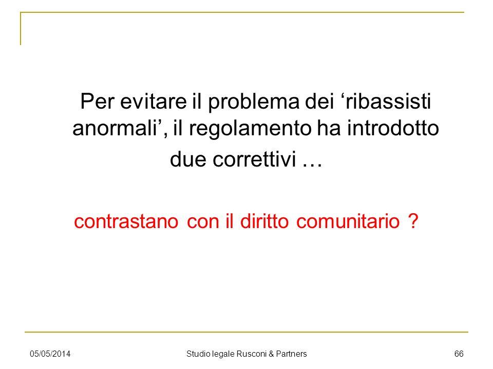 Per evitare il problema dei ribassisti anormali, il regolamento ha introdotto due correttivi … contrastano con il diritto comunitario ? 05/05/2014 Stu