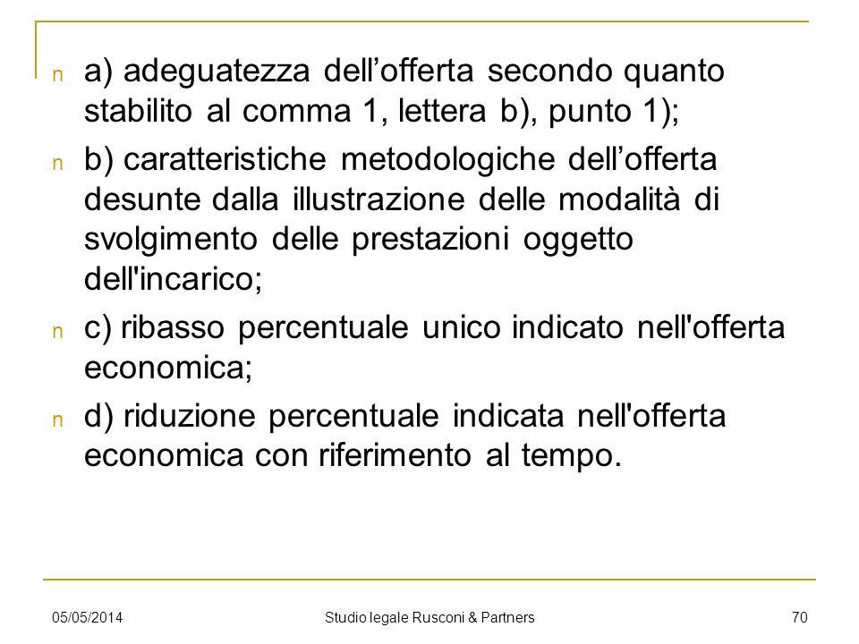 a) adeguatezza dellofferta secondo quanto stabilito al comma 1, lettera b), punto 1); b) caratteristiche metodologiche dellofferta desunte dalla illus