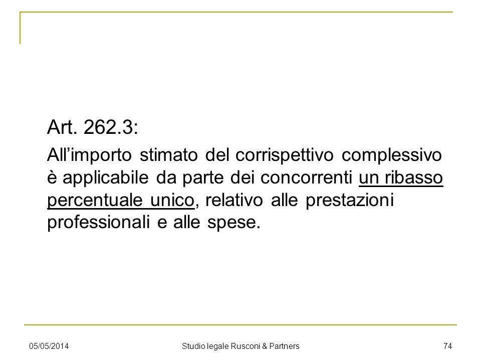 Art. 262.3: Allimporto stimato del corrispettivo complessivo è applicabile da parte dei concorrenti un ribasso percentuale unico, relativo alle presta