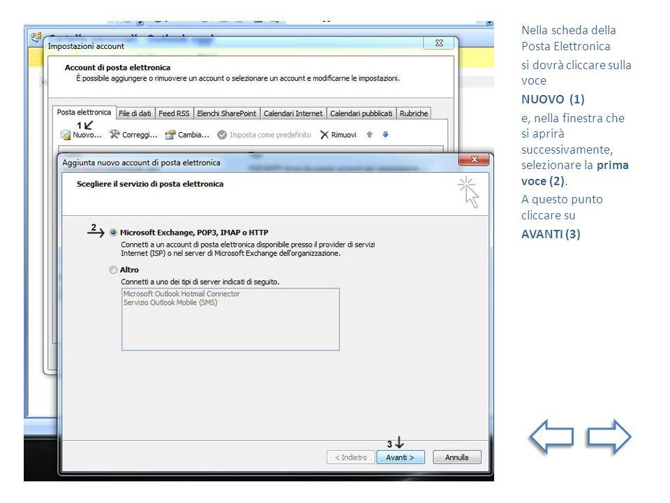 Nella scheda della Posta Elettronica si dovrà cliccare sulla voce NUOVO (1) e, nella finestra che si aprirà successivamente, selezionare la prima voce (2).