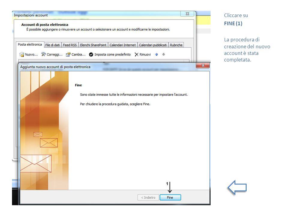 Cliccare su FINE (1) La procedura di creazione del nuovo account è stata completata.