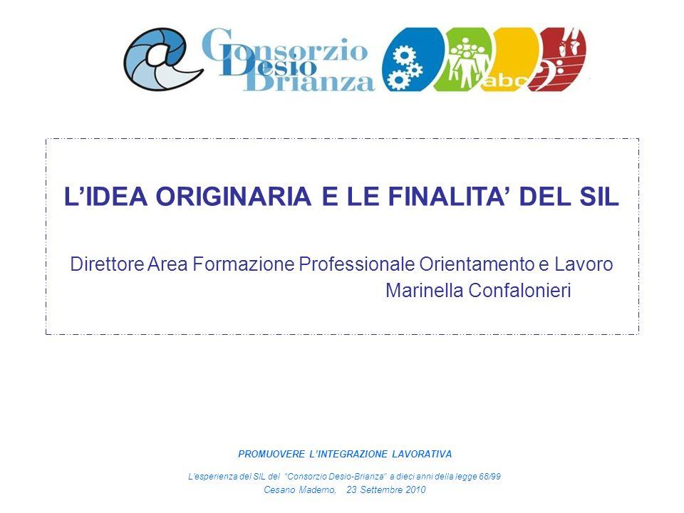 LIDEA ORIGINARIA E LE FINALITA DEL SIL Direttore Area Formazione Professionale Orientamento e Lavoro Marinella Confalonieri PROMUOVERE LINTEGRAZIONE L