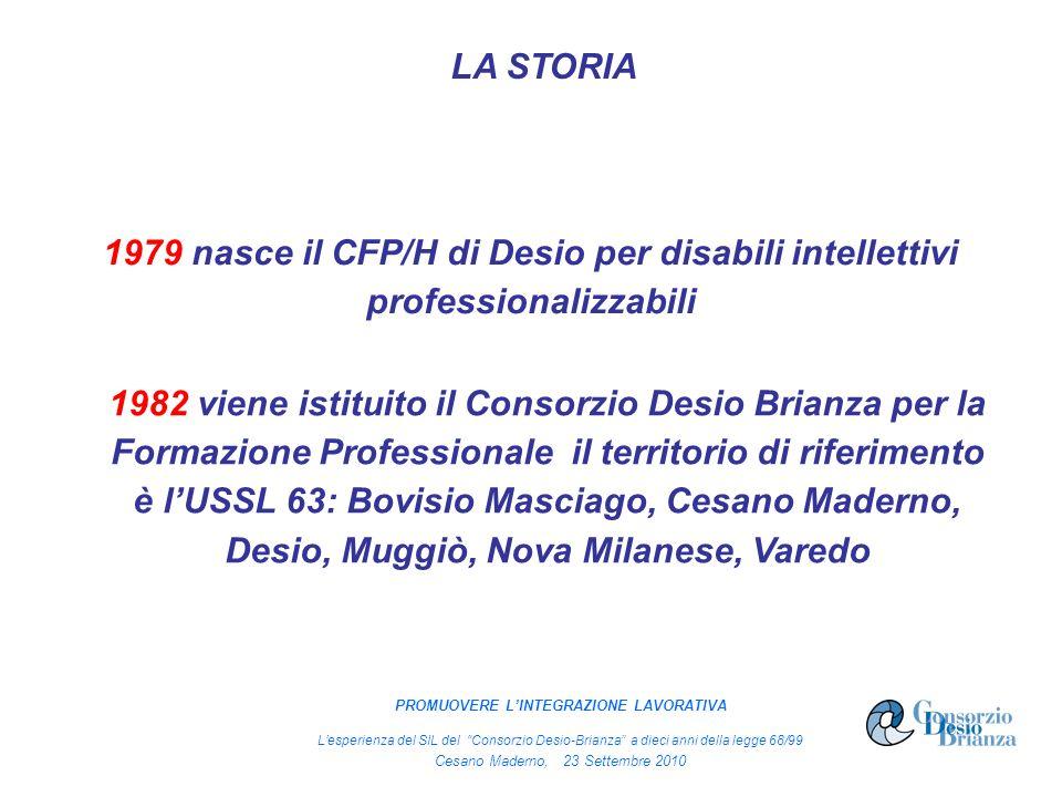 1979 nasce il CFP/H di Desio per disabili intellettivi professionalizzabili LA STORIA 1982 viene istituito il Consorzio Desio Brianza per la Formazione Professionale il territorio di riferimento è lUSSL 63: Bovisio Masciago, Cesano Maderno, Desio, Muggiò, Nova Milanese, Varedo PROMUOVERE LINTEGRAZIONE LAVORATIVA Lesperienza del SIL del Consorzio Desio-Brianza a dieci anni della legge 68/99 Cesano Maderno, 23 Settembre 2010