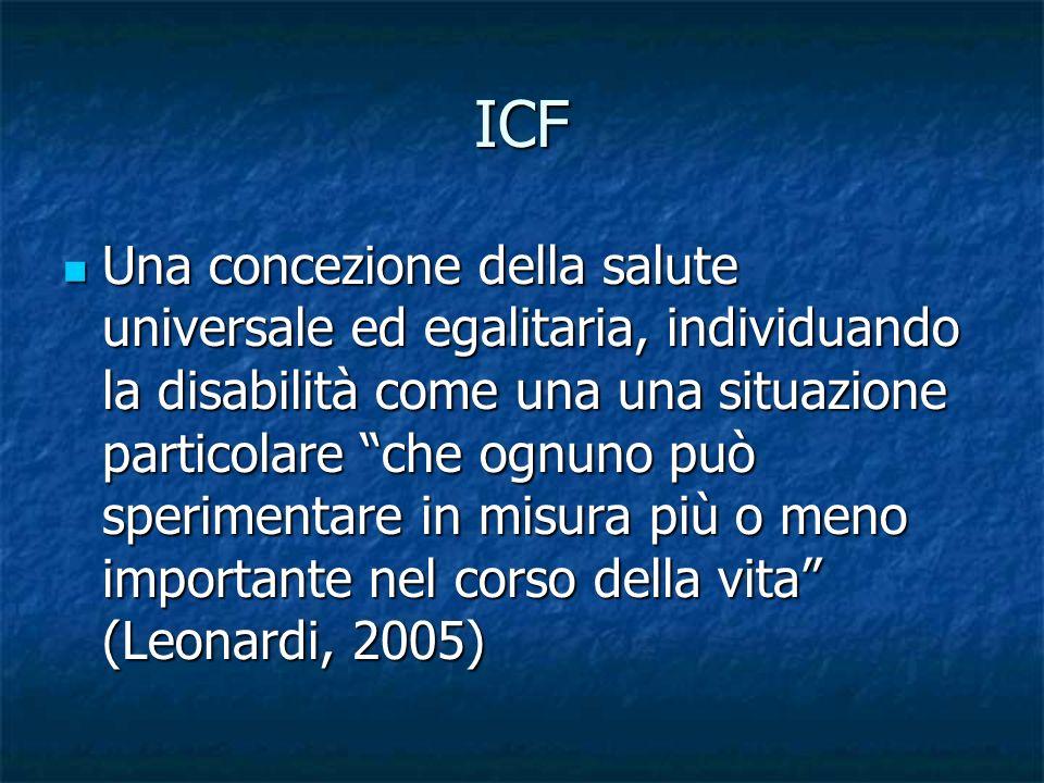 ICF Una concezione della salute universale ed egalitaria, individuando la disabilità come una una situazione particolare che ognuno può sperimentare i