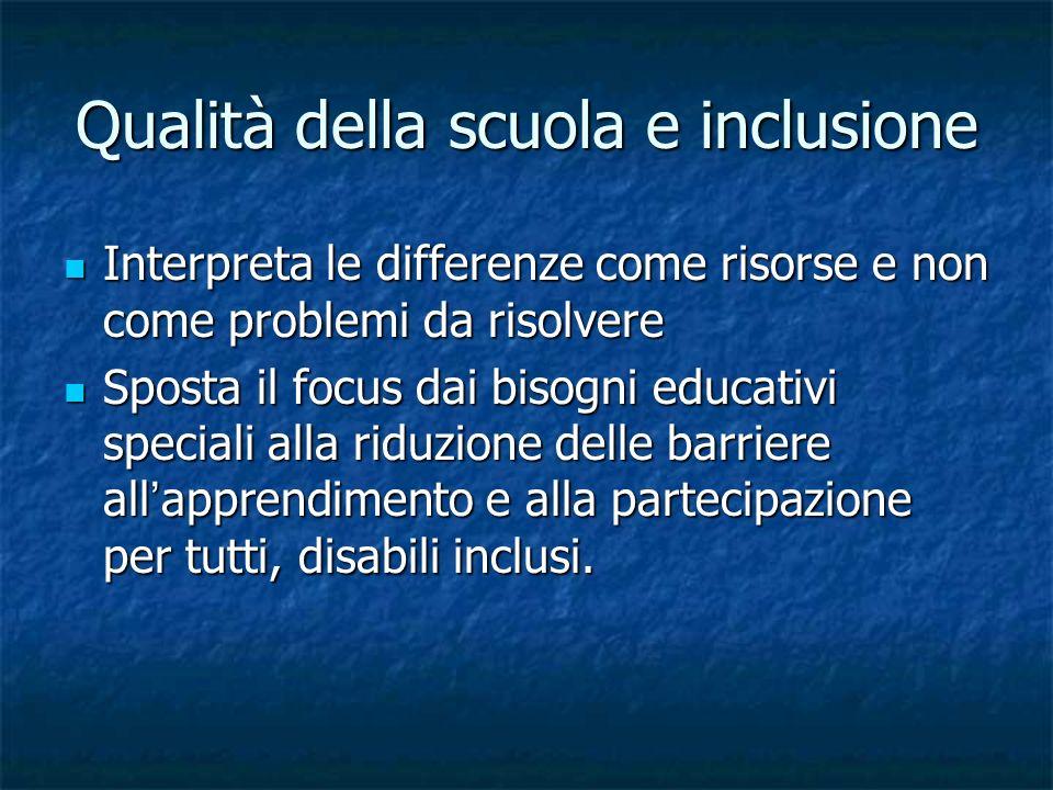 Qualità della scuola e inclusione Interpreta le differenze come risorse e non come problemi da risolvere Interpreta le differenze come risorse e non c