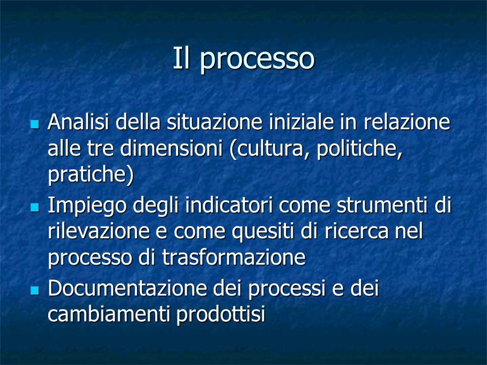 Il processo Analisi della situazione iniziale in relazione alle tre dimensioni (cultura, politiche, pratiche) Analisi della situazione iniziale in rel
