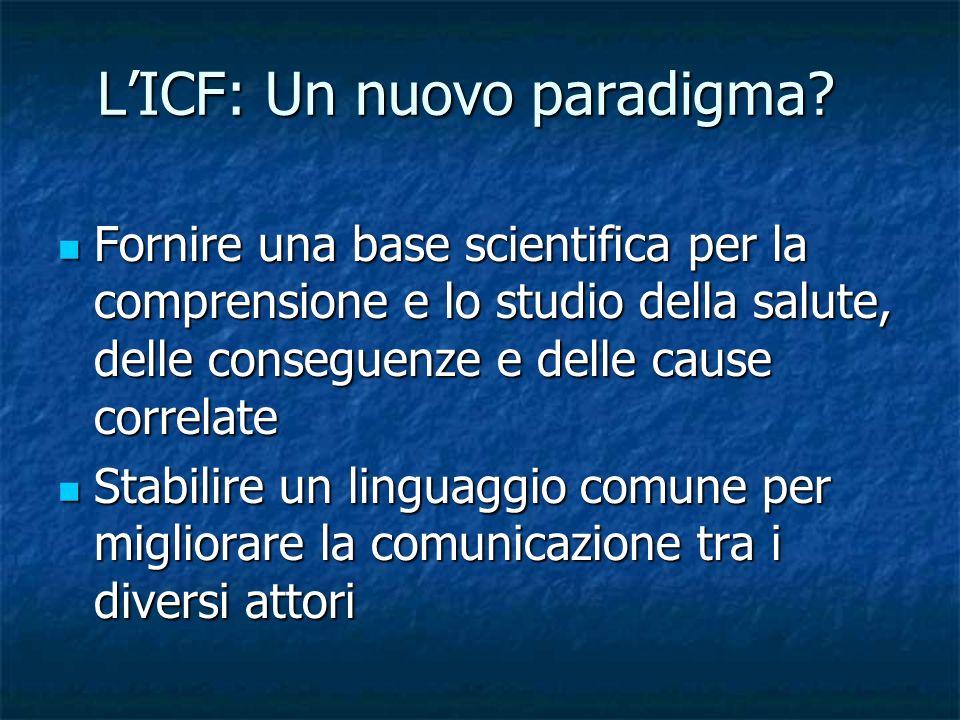 LICF: Un nuovo paradigma? Fornire una base scientifica per la comprensione e lo studio della salute, delle conseguenze e delle cause correlate Fornire