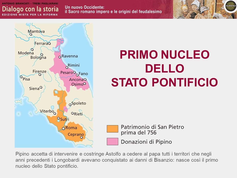 Pipino accetta di intervenire e costringe Astolfo a cedere al papa tutti i territori che negli anni precedenti i Longobardi avevano conquistato ai dan
