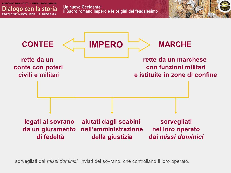 sorvegliati dai missi dominici, inviati del sovrano, che controllano il loro operato. IMPERO CONTEE rette da un conte con poteri civili e militari MAR