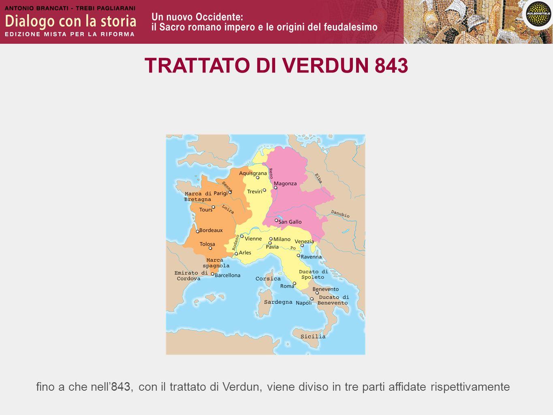 fino a che nell843, con il trattato di Verdun, viene diviso in tre parti affidate rispettivamente TRATTATO DI VERDUN 843