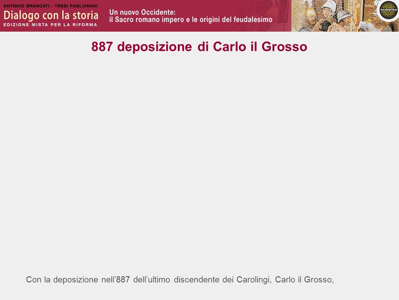 Con la deposizione nell887 dellultimo discendente dei Carolingi, Carlo il Grosso, 887 deposizione di Carlo il Grosso